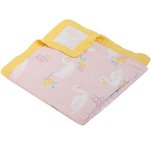 LifeTree Weichen Musselin Bambus/Baumwolle Decke, Doppelte Schichten 115 x 115 cm Babydecke, Warme Decke Pucktücher für Kinder