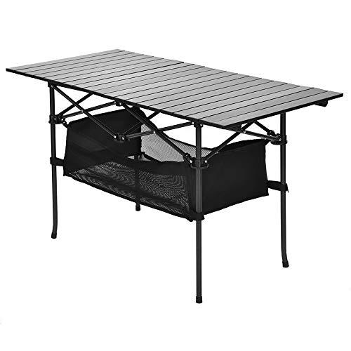 Mesa plegable, Mesa de aluminio para acampar Mesa portátil enrollable Escritorio...