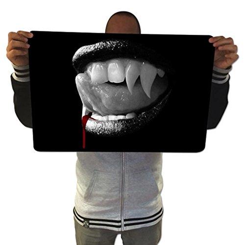 Custom Maus Pads Gaming Maus Pad Vampire Dracular Zähne Spiel Matten Gamer ausgefahren Control Glatte Wasserdicht Material, Unterseite aus rutschfestem Gummi, extra groß Größe 600mm x 400mm x (Zähne Vampir Namen)