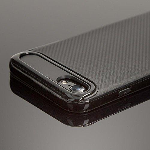 iPhone 8 / 7 Carbon-Hülle Handyhülle von NICA, Ultra Slim Silikon Case mit Bumper, Dünne Schutzhülle mit Rahmen im Metall-Look, Etui Handy-Tasche Back-Cover für Apple i-Phone 7 / 8, Farbe:Schwarz Schwarz