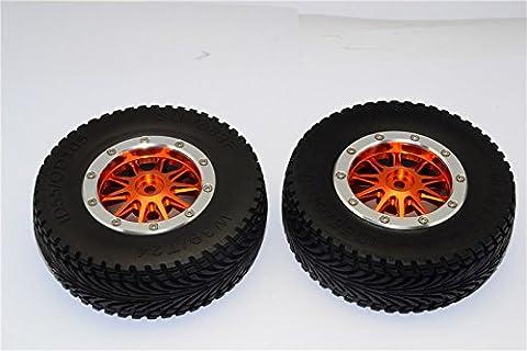 HPI Bullet Nitro 3.0 Tuning Teile Rubber Front Tires With Nylon Rims Frame & Aluminium 10 Poles Beadlock Rims & 12X9mm Drive Adapters - 1Pr Set Orange