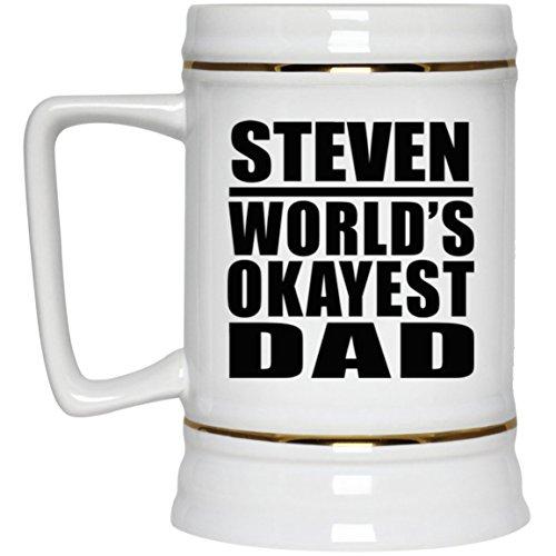 Steven Worlds Okayest Dad - Beer Stein Chope De Bière Chope En Céramique Mug Pour Bar - Cadeau pour Anniversaire Fête des Mères Fête des Pères Pâques