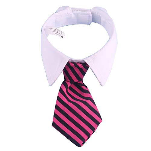 Katzen-Hundekrawatte Pet Kostüm Krawatte Kragen für kleine Hunde Welpen Grooming Zubehör Rot und Schwarz Bar 1PC