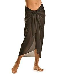 TOSKATOK® Femmes Filles sexy couvre plage élégante robe jupe jusqu'à Sarong en couleurs unies
