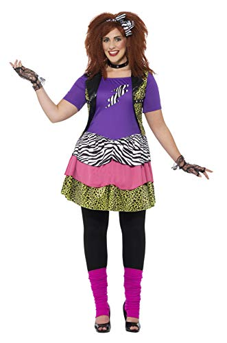 Rock Chick Fancy Kostüm Dress - Smiffys 44658L - Damen 80er Jahre Rock Chick Kostüm, Größe: 44-46, mehrfarbig