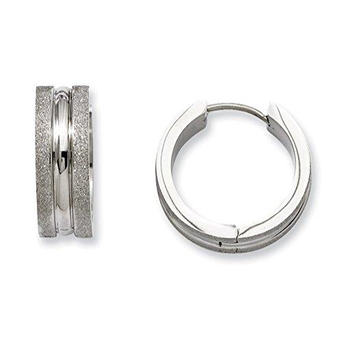 Stainless Steel Polished And Laser Cut Hinged Hoop Earrings
