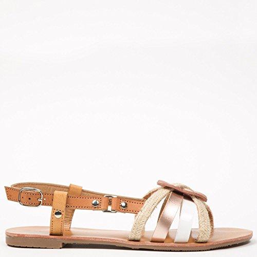 Ideal Shoes–Flache Sandale mit Riemen Effekt Seil Fati Weiß - weiß