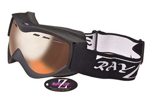 Rayzor Professional UV400 Double Lensed Ski / SnowBoard Goggles, With a Matt Black Frame and (Cancella Termica Lens)
