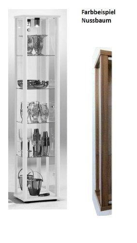 Standvitrine Glasvitrine Spiegel Beleuchtung Vitrine Nussbaum mit Spiegel