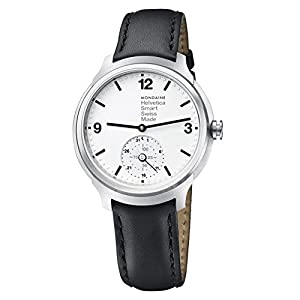 Mondaine Helvetica Smart Watch Women's/ Men's Watch, Black Leather Strap, App with Coaching Function iOS / Andorid