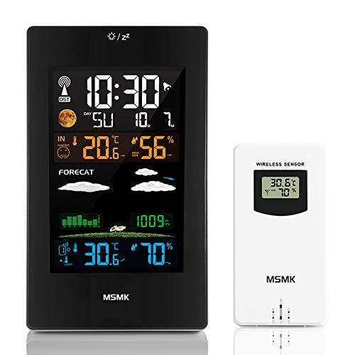 MSMK MK3389 Wetterstation mit Außensensor/Funkwecker/Innen-/Außentemperatur und Luftfeuchtigkeit/Mondphase/Uhr mit Thermometer.
