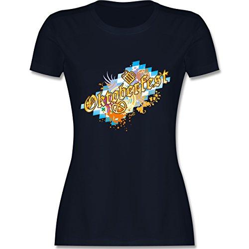 Oktoberfest Damen - Oktoberfest bunt - tailliertes Premium T-Shirt mit Rundhalsausschnitt für Damen Navy Blau