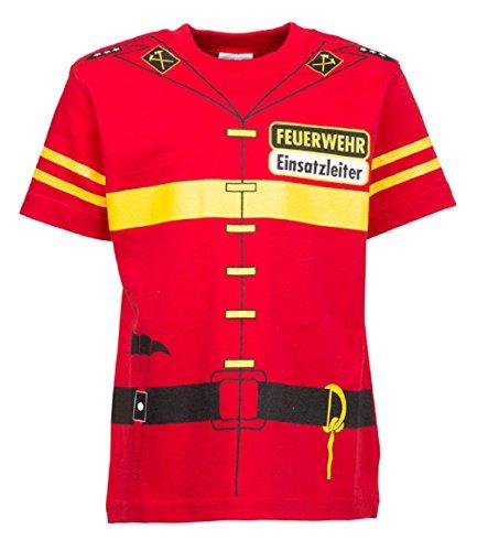 Kinder Feuerwehr Uniform T-Shirt rot, Größen 92 bis 146 (92/98) (Pilot Kinder Uniform)