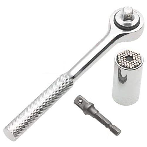 Lezed Profesional Agarre llave llaves de Vaso Profesional Multiple-function Universal Agarre Adaptador 7 mm a 19 mm con Adaptador de Taladro Eléctrico y Mango Universal Reparación Herramientas