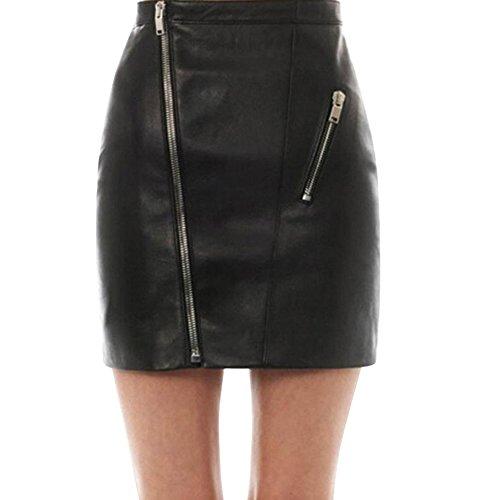 Kanpola Rock Frauen Leder mit hohen Taillen dünnes Partei Bleistift Kleid (M/38, D-Schwarz)