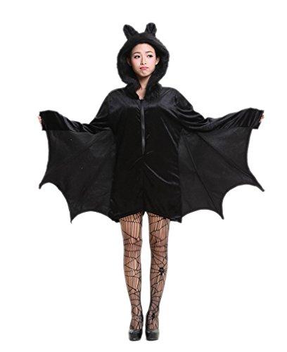 ELE GENS Mädchen Damen Halloween Fledermaus Kostüm Verkleidung Cosplay Karneval Fasching Show Vampir (XXL)