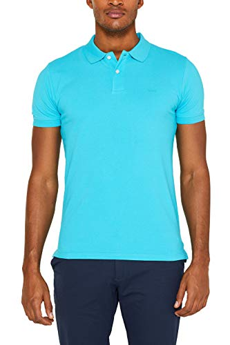 ESPRIT Herren 029Ee2K034 Poloshirt, Blau (Dark Turquoise 460), Large (Herstellergröße: L)