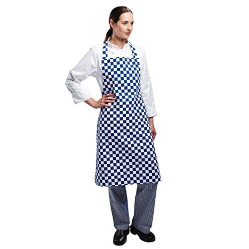 Les Blancs Chefs Apparel A554 Bavoir tablier, Bleu et blanc à carreaux