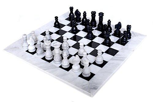 RADICALn 40 CM Große handgemachte weiß und schwarz gewichteten Marmor Full Chess Spielset Staunton und Ambassador Style Marble Turnier Schach-Sets für Erwachsene - Nicht aus Holz - Nicht magnetisch - Nein Digital Dgt - RADICALn 40 CM Large Handmade White and Black Weighted Marble Full Chess Game Set Staunton and Ambassador Style Marble Tournament Chess Sets for Adults - Non Wooden - Non Magnetic - No Digital Dgt