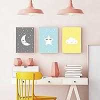 Wandposter für Kinderzimmer, Babyzimmer Poster, Wandbild, Wanddruck Kinder (DIN A4 3er-Set)