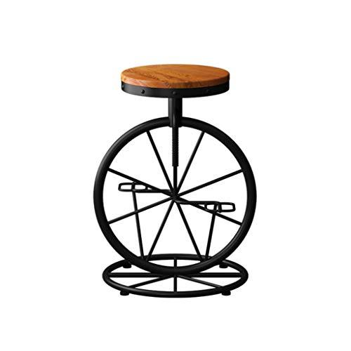 ZDD Eisenstuhl Stuhl Barhocker Retro Massivholz Barhocker Barhocker kreativer Stuhl (Farbe : Light Brown, größe : Ø33x60-70cm)