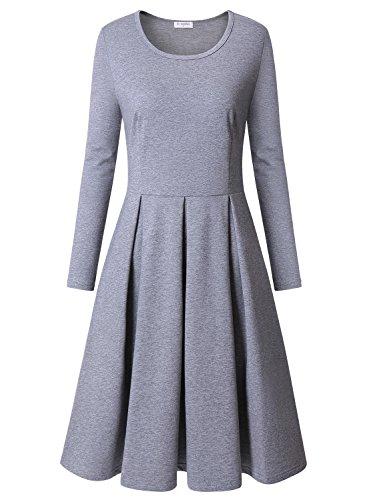 Bulotus Damen Lange Ärmel Rundhals Stretch Skaterkleid Herbstkleid Fattern Basic A-Line Kleider (Grau, XXL) (Stretch-lange Ärmel)
