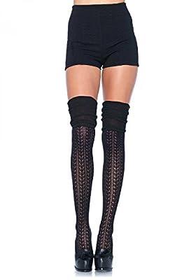 Leg Avenue Damen Overknee Strümpfe schwarz Einheitsgröße One Size ca. 36 bis 40