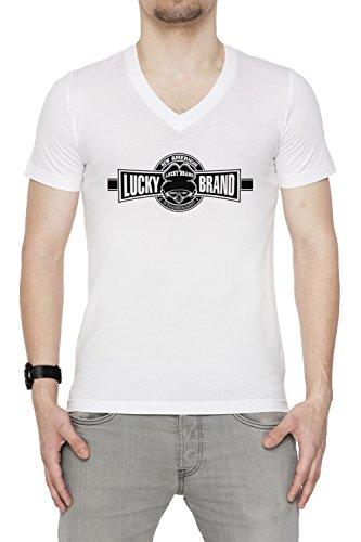 lucky-brand-blanco-algodon-hombre-v-cuello-camiseta-mangas-white-mens-v-neck-t-shirt