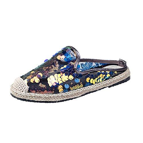 Precioul Damen Sommer Pailletten Schuhe Loafers Sandalen Hausschuhe, stilvoll und bequem wild Plateau Glitter Festliche qualitativ hochwertige Da-lite 49
