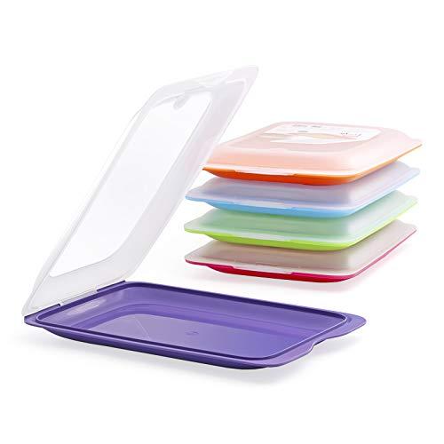 Hochwertige Aufschnitt-Boxen 5 Set Platzsparend Stapelbar ( Stapelboxen ) / Vorratsdosen-Set für Aufschnitt mit integrierter Servierplatte. Foodcenter Frischhaltedosen für den Kühlschrank