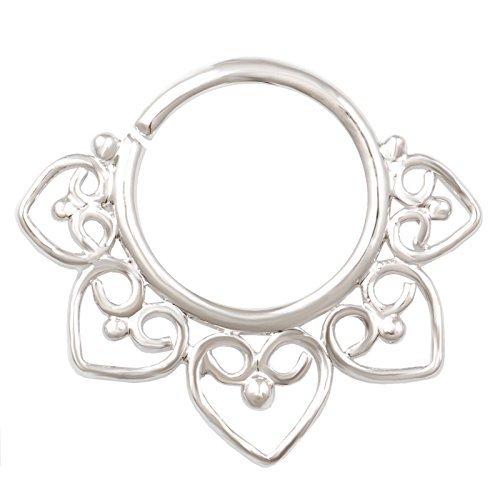 Septum 18g 5/16Einzigartigen Naht Hoop Ring Ring aus massivem Messing rhodiniert Gauge Nase Nasenloch Ohr Helix Cartilage Cool rhstp 08von Bodyjewellery (18g Gauge Ohr)