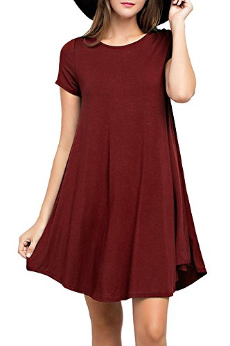 LILBETTER Elegant Damen Sommerkleid Kurzarm Strandkleid Casual Partykleid Tunika Frauen T-Shirt Blusen (Weinrot XL)