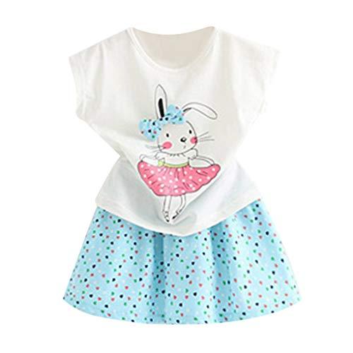 Mädchen Kleinkind Kinder Baby Outfits Kleidung Cartoon Kaninchen T-Shirt Tops + Dot Rock Set Baumwolle Blumen Kleid Prinzessin Freizeit Sommer T-Shirt Festlich Partykleid Kleid (Outfit Kleinkind Ballerina)