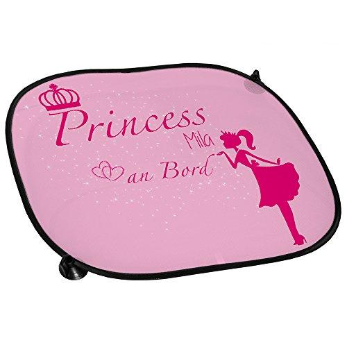 Auto-Sonnenschutz mit Namen Mila und süßem Prinzessin-Motiv für Mädchen - Auto-Blendschutz - Sonnenblende - Sichtschutz