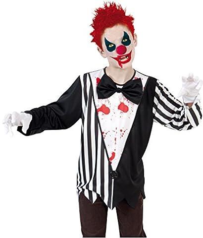 Kinderkostüm Clown Horror, Oberteil mit abnehmbarer Fliege, schwarz/weiß, Gr. 140-164 *NEU bei Pibivibi
