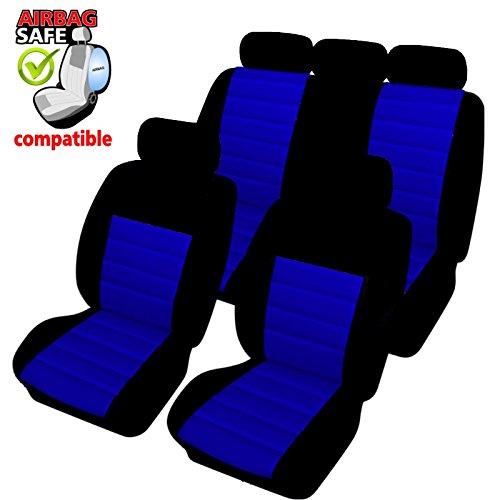 Preisvergleich Produktbild KMHSB403 - Sitzbezug Set Schwarz / Blau Sitzschoner Sitzkissen mit Seiten Airbag geeignet für SUZUKI Grand Vitra Swift Sport