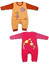 Babeezworld Baby Full Sleeve Diaper Friendly Printed Cotton Romper Sleeping Suit Set for Boy's & Girl's (Combo Pack Of 2)Orange Pink