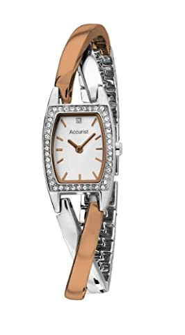 Accurist Women's Quartz Watch with Mother of Pearl Dial Analogue Display and Two Tone Rose Gold Plated Bracelet