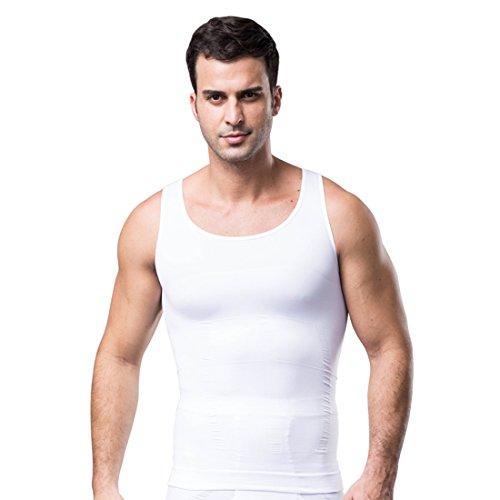 ZEROBODYS Figurformendes ärmelloses Herren-T-Shirt SS-M11 (M, Weiß) - Slim Shaper N Body Lift