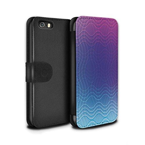 STUFF4 PU-Leder Hülle/Case/Tasche/Cover für Apple iPhone 5/5S / Baumwollfarbstoff Muster / Ombre Mode Kollektion Gewellter Effekt
