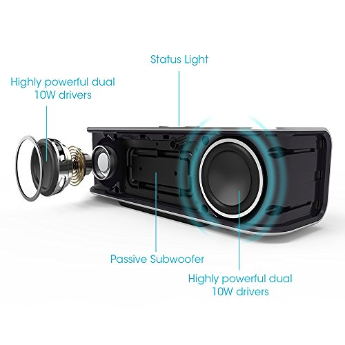 Bluetooth-Speakers-TaoTronics-Wireless-Portable-Speaker-Boom-X-Stereo-20W-Speaker-Dual-10W-Drivers-Dual-Passive-Subwoofers-Strong-Bass-Aluminum-Alloy-Bluetooth-40-Built-in-Microphone