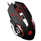 inphic Mouse Gaming Silenzioso, 4800DPI Mouse da Gioco Ottico USB con Cavo, Regolazione 5 DPI, 6 Pulsanti Programmabili, 7 LED RGB con Peso Extra per i Giocatori, PC Laptop Mac, Nero