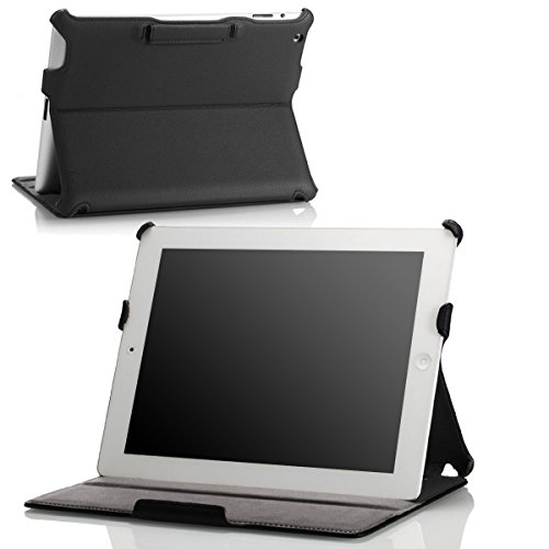 Moko Folio - Custodia ultra sottile per Apple Mini iPad, Apple New iPad 4 & 3 (terza e quarta generazione con Retina Display) / iPad 2, Apple iPad Air (quinta generazione) Carbon Fiber BLACK For New iPad 4 & 3 and iPad 2