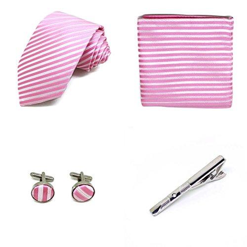 S.R HOME Coffret Cadeau Ensemble Cravate homme, Mouchoir de poche, épingle et boutons de manchette Rayures Rose