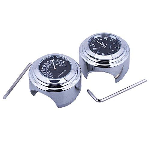 Uhr und Thermometer für Motorrad, mit Universalskala, für Lenker, 2,2-2,5 cm Schwarz