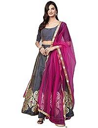 56c06b9b7 Inddus Grey Silk Zari Woven Kalidar Lehengha Choli with Dupatta (Free Size