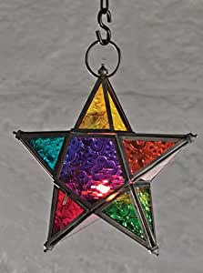 Moroccan Style Star Hanging Glass Lantern By White Candle Company By Candle