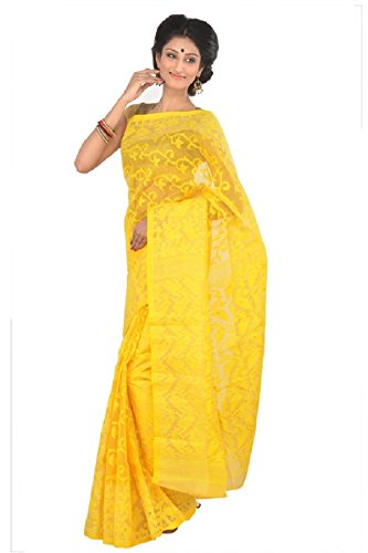 501a683b44694 71% Mayurakshi Women s Pure Cotton Dhakai Jamdani Embroidered Saree without  Blouse Piece (Yellow