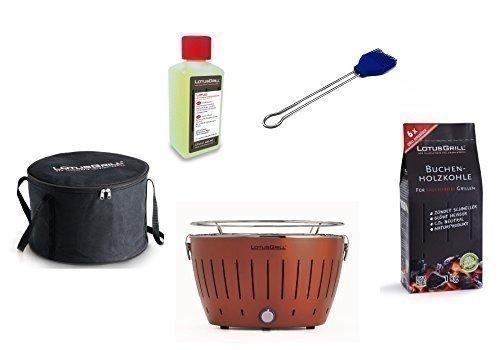 Lotus Barbecue Kit de démarrage 1x Lotus cuivre Marron Couleur Spéciale 1x Hêtre Charbon de bois 1kg, 1x Pâte à combustible Bleu Outremer 200ml, 1x Pinceau, 1x sac de transport