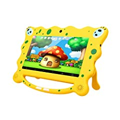 Idea Regalo - Ainol 7C08 Tablet per Bambini da 7 pollici, Android 7.1 RK3126C Quad Core 1GB+8GB Tablet Educativo, con Custodia in Silicone Stander, WIFI Doppia Fotocamera, Giallo